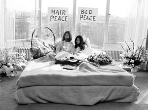 Portret van John Lennon en Yoko Ono