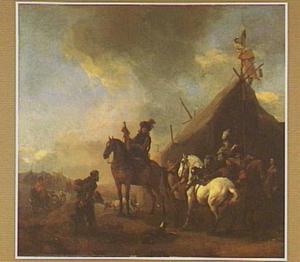Legerkamp met halthoudende ruiters bij een tent