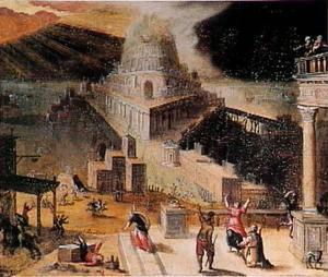 De verwoesting van de toren van Babel (Genesis 11:8)