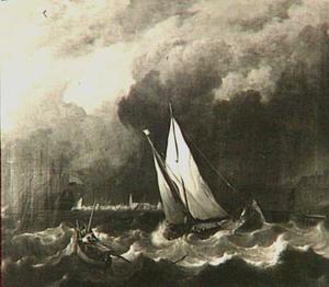 Schepen op de rede van Hoorn in zwaar weer