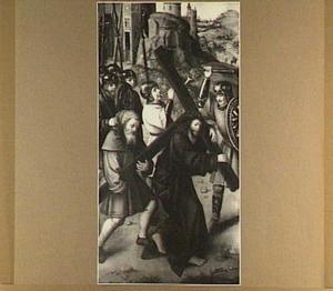 Simon van Cyrene helpt Christus het kruis dragen