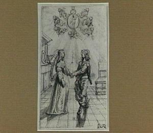 Ongeïdentificeerde allegorische voorstelling (huwelijksallegorie?)