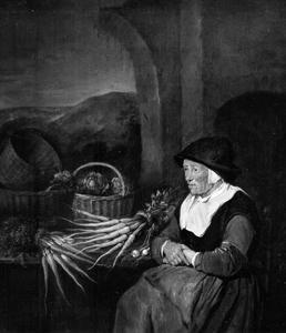 Oude vrouw, groenten verkopend voor een ruïne