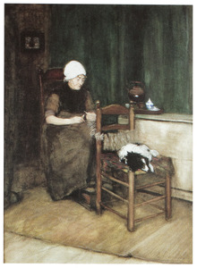 Breiende vrouw in een interieur