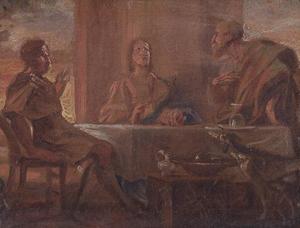 Christus zegent het brood te Emmaus (Lucas 24: 30-31)