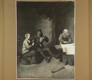 Drinkende boer en twee boerinnen in en interieur