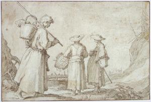 Twee boerinnen en een herder op weg naar de markt