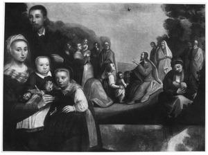 Familieportret met rechts 'Laat de kinderen tot mij komen'
