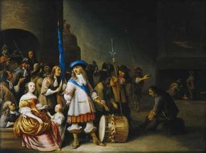 Interieur van een wachtlokaal met soldaten en een jonge vrouw met kind