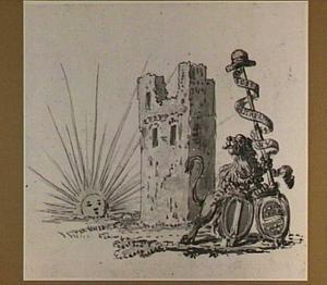 Allegorische voorstelling met de ruïne van het Huis te Merwede bij Dordrecht