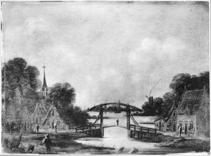 Rivierlandschap met ophaalbrug