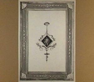 Wanddecoratie met zittende klassieke figuur in een ruit
