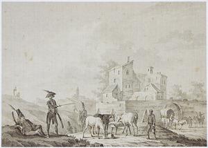 Soldaten en cavalerie rustend bij een dorp