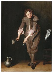 Jongen met tinnen beker en pijp in een interieur