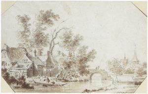 Dorp aan het water met brug en kerk