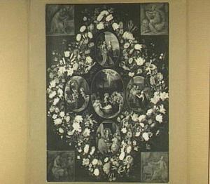Bloemenkrans rond medaillons met scènes van de geboorte en de eerste levensjaren van Christus