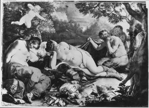De slapende Diana met haar nimfen tijdens de slaap door saters bespied