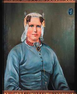 Portret van Saartje Koster in Westfries kostuum, echtgenote van A. de Goede