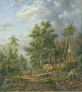 Kampunggezicht bij de hoofdplaats Malang, Java
