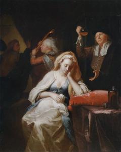 Dokter bezoekt een zwangere vrouw, de dader wordt weggejaagd