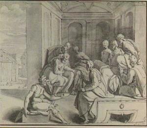 Boaz bespreekt Elimelechs erfenis met de tien oudsten
