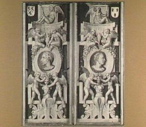 Een ornamentale beschildering met medaillons in rolwerk en later toegevoegde familiewapens