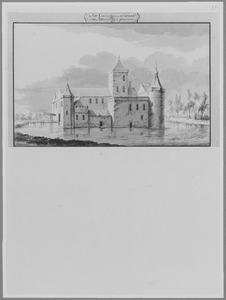 Voor- en rechterzijde van kasteel Honingen in Kralingen, anno 1410