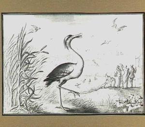 Heuvellandschap met vogels en oosterse figuren bij een rivier