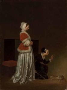 Spaniel die gestraft wordt door de dame des huizes en de dienstbode