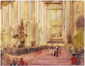 De inhuldiging van koningin Juliana in de Nieuwe Kerk te Amsterdam, 6 september 1948