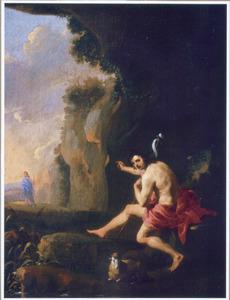 Johannes de Doper wijzend op Christus in een bergachtig landschap