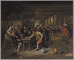 Een hanengevecht in een herberg