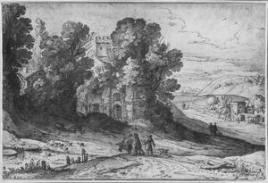 Heuvellandschap met ruïnes en ezel
