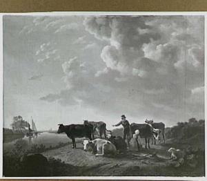Landschap met koeien bij een rivier, op de achtergrond Dordrecht