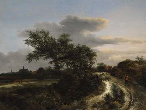 Duinlandschap met enkele figuren; in de verte Haarlem