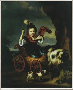 Portret van een onbekende jongen in een bokkenwagen