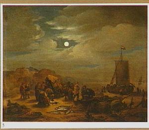 Vissers op het strand bij volle maan