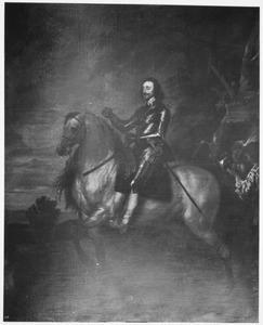 Portret van Karel I van Engeland te paard met zijn page Sir Thomas Morton