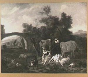 Zuidelijk landschap met rustende herderin en vee