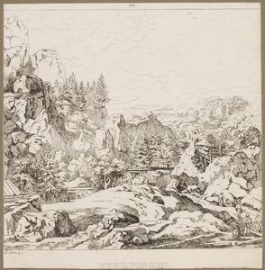 Rotslandschap met een waterval en hutten