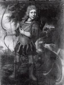 Portret van een jongen in een Romeins jachtkostuum