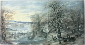 Winterlandschap met reizigers op een weg. In de achtergrond Tervuren