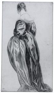 Staande vrouw naar links, rugfiguur