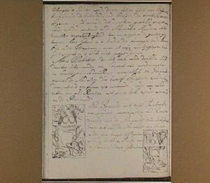 Bladzijde uit het aantekenboekje van Philip Tideman met twee schetsjes