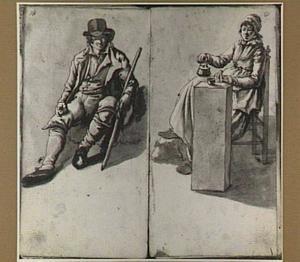 Man met stok en theedrinkende vrouw, zittend