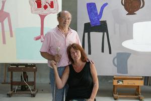 Portret van Klaas Gubbels met vrouw