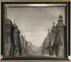 """Het toneeldecor """"De Legertenten"""" van Pieter Barbiers (1774) voor de Stadsschouwburg op het Leidseplein te Amsterdam"""