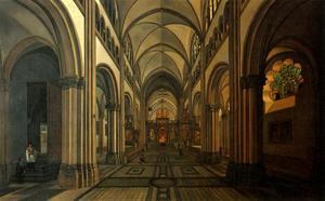 Interieur van de Münsterbasilika Sankt Martin te Bonn