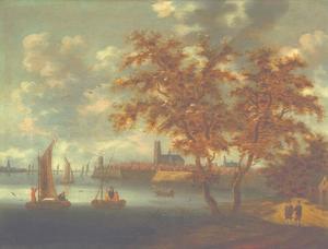 Gezicht op de Merwede bij Dordrecht met de Grote kerk en de molen Kyck over den Dyck