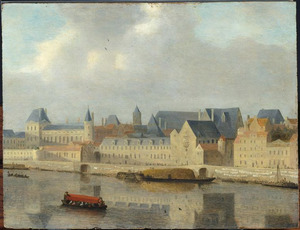 Gezicht op de rechteroever van de Seine met het Palais du Louvre in Parijs